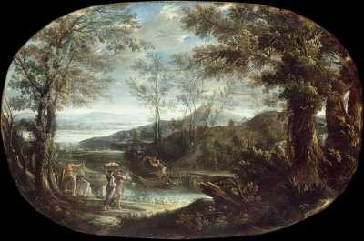 Landschaft mit Flussszene