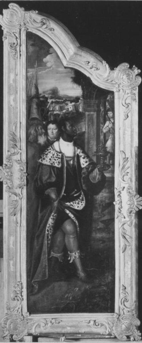 Anbetungstriptychon: Linker Flügel mit dem sogenannten Mohrenkönig Rückseite: Christus als Erlöser