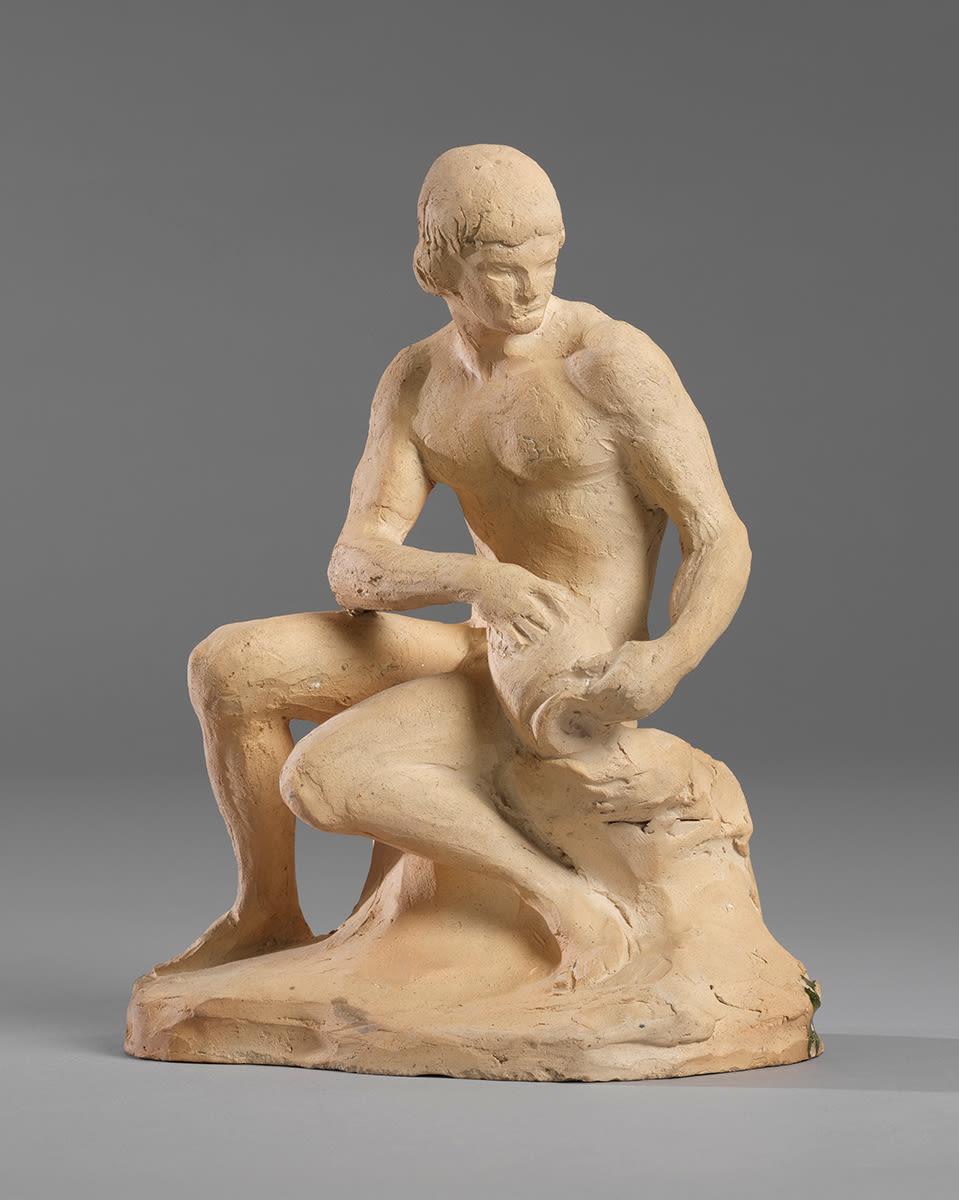 Bozzetto eines sitzenden männlichen Aktes mit Krug