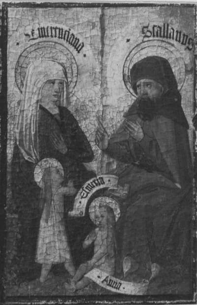 Zweiter Kirchheimer Sippenaltar: Emerentia und Stolanus mit Esmeria und Anna