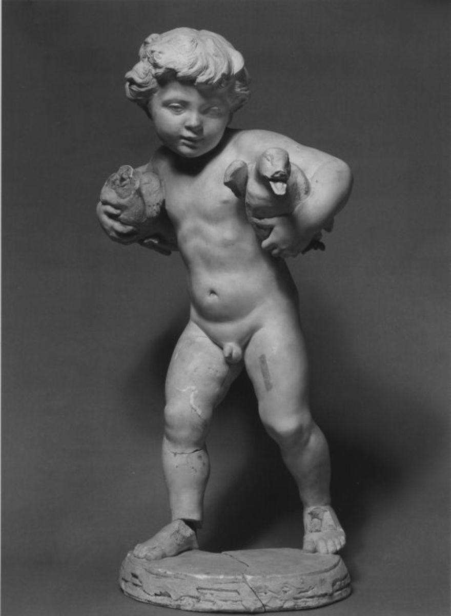 Originalmodell für den Enten tragenden Putto des Gartenbrunnens der Villa Salomonsohn in Berlin