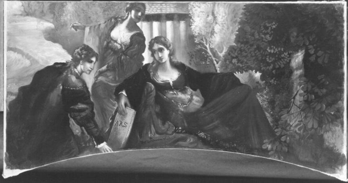 Drei Supraporten, Frauen in Landschaft: Allegorie der Kunst