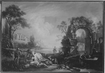 Landschaft mit Ruinen und Staffage