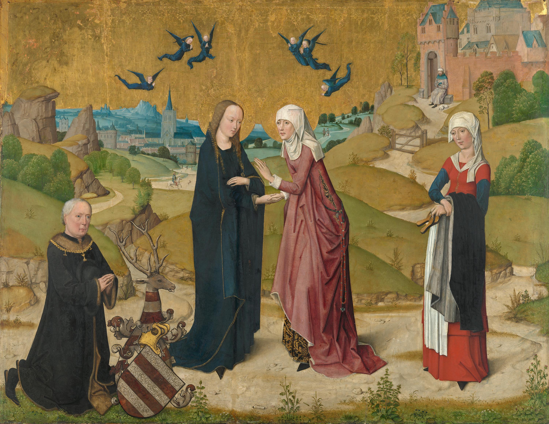Marienleben: Heimsuchung Mariae und der Stifter Johann von Hirtz