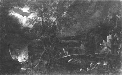 Flusslandschaft bei Mondschein