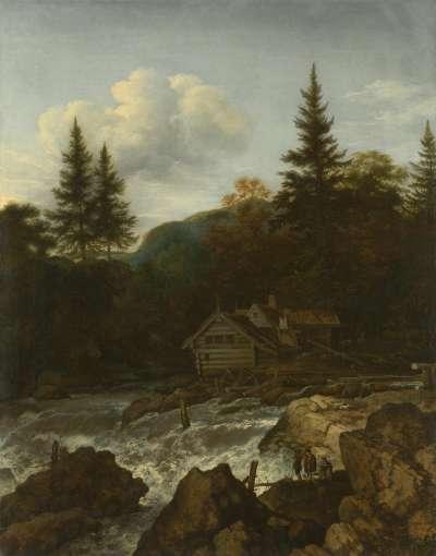 Skandinavischer Wasserfall mit einer Mühle