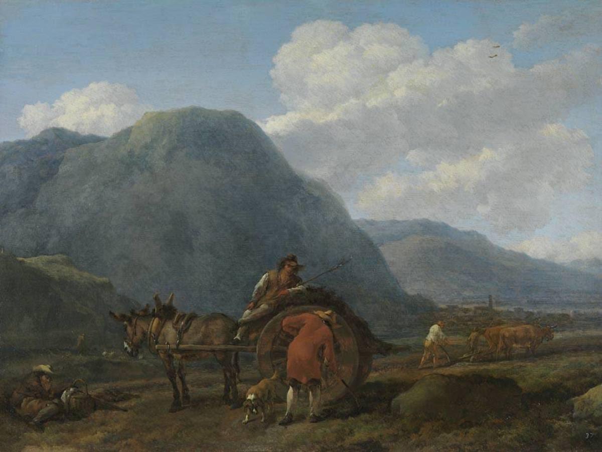 Landschaft mit Eselskarren