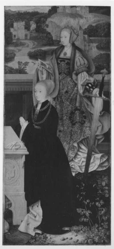 Rechter Flügel eines Altares: Hl. Katharina mit Stifterin Rückseite: Beweinung Christi