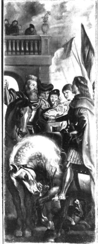 Die Könige Clothar und Dagobert disputieren mit einem Herold des Kaisers Mauritius