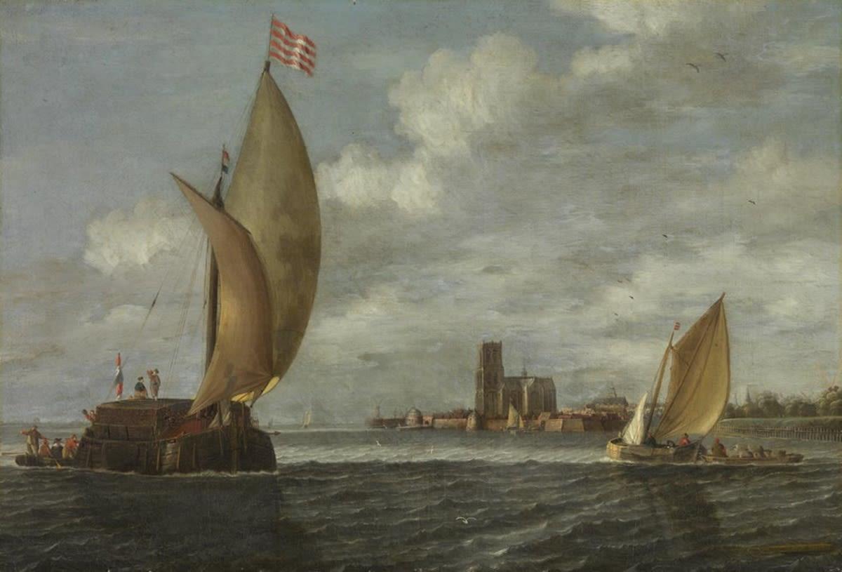 Segelboote vor einer Stadt