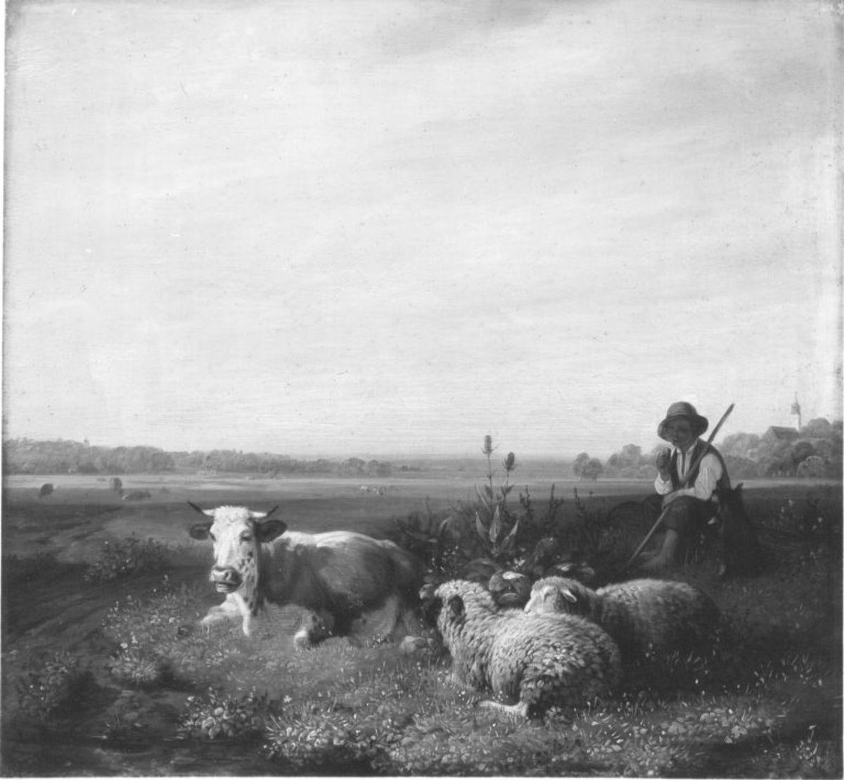 Hirtenjunge mit Kuh und Schafen auf der Weide