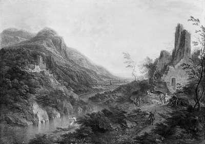 Flusslandschaft mit Ruinen