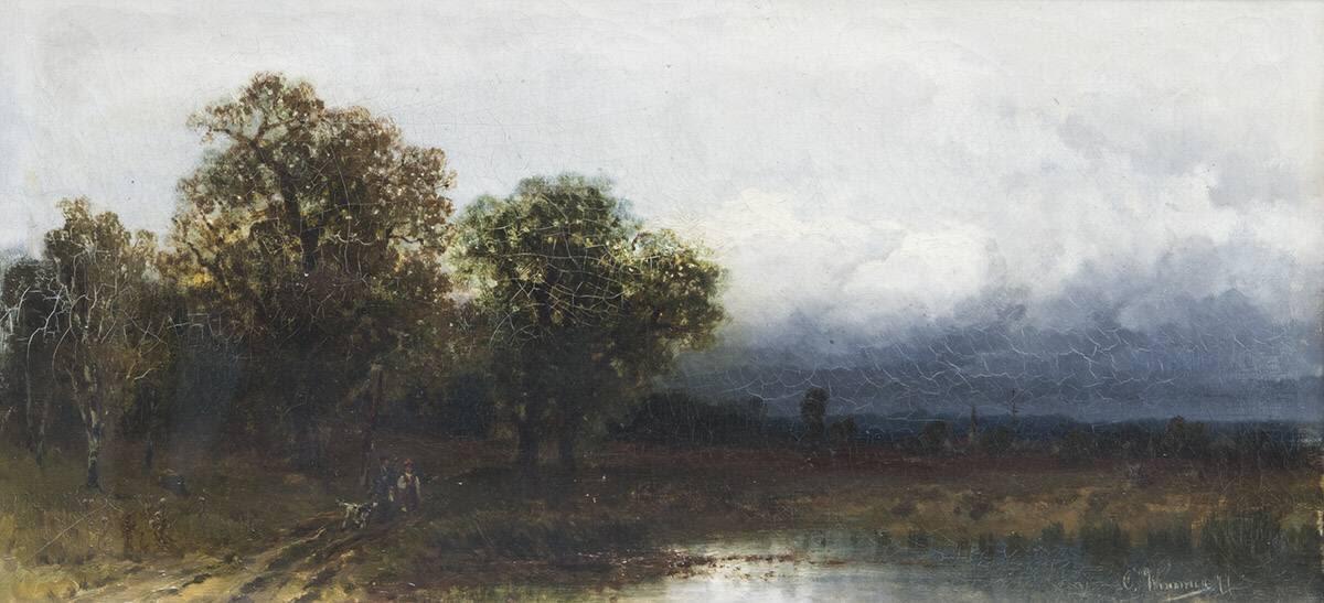 Moorlandschaft mit Bäumen und Wolkenhimmel