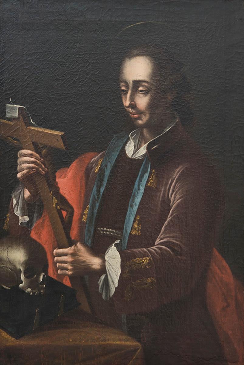 Franziskaner mit Kreuz, Bibel und Totenkopf