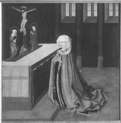 Klarenaltar: Hortunula, Mutter der hl. Klara, im Gebet