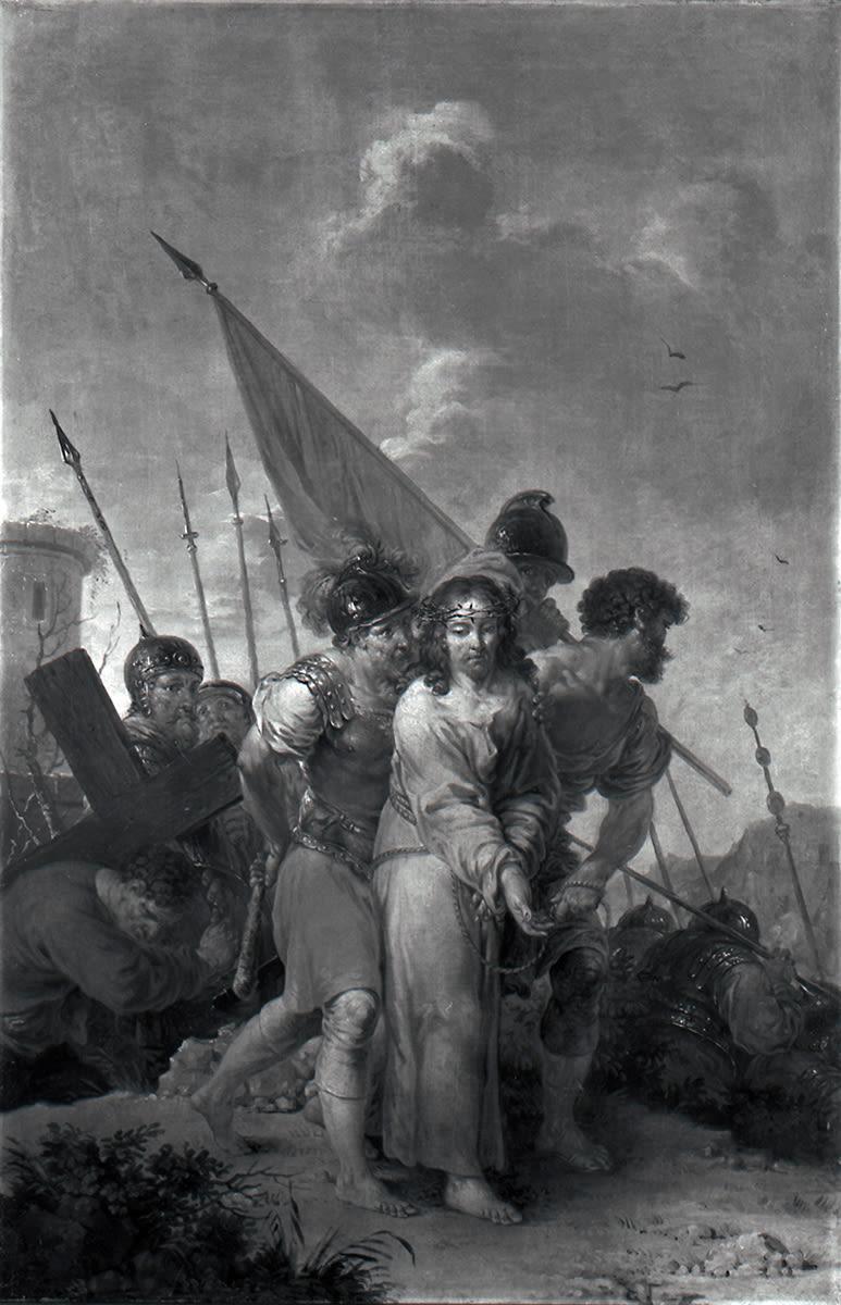 Simon von Cyrene hilft Christus das Kreuz zu tragen