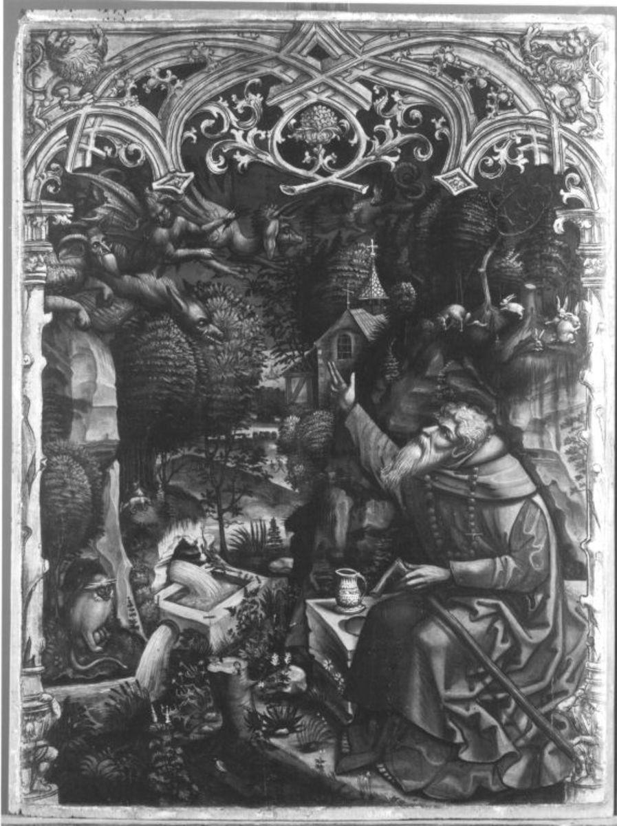 Teufel teilen einem Einsiedler mit, dass sie der Seele des Kaisers nicht habhaft werden konnten