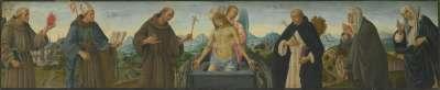 Schmerzensmann und sechs Heilige (Hll. Antonius von Padua, Ludwig von Toulouse, Franziskus, Dominikus, Klara und Katharina von Siena)