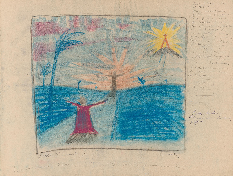 Notizbuch: Ziganka - Der Träumende Knabe. Pantomimisches Ballet für Musik von Sonia Friedman-Gramatté. Bühnenbilder von Walter Gramatté.