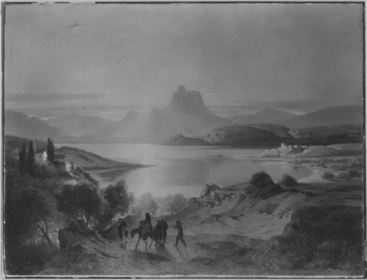 Gebirgssee mit heimkehrenden Mönchen