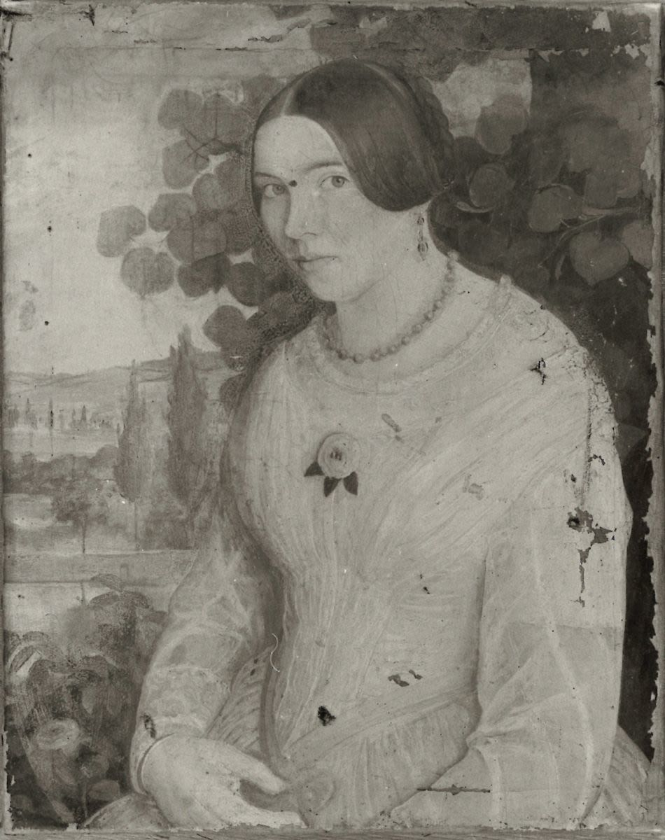 Junge Frau in Halbfigur vor südlichem Landschaftshintergrund