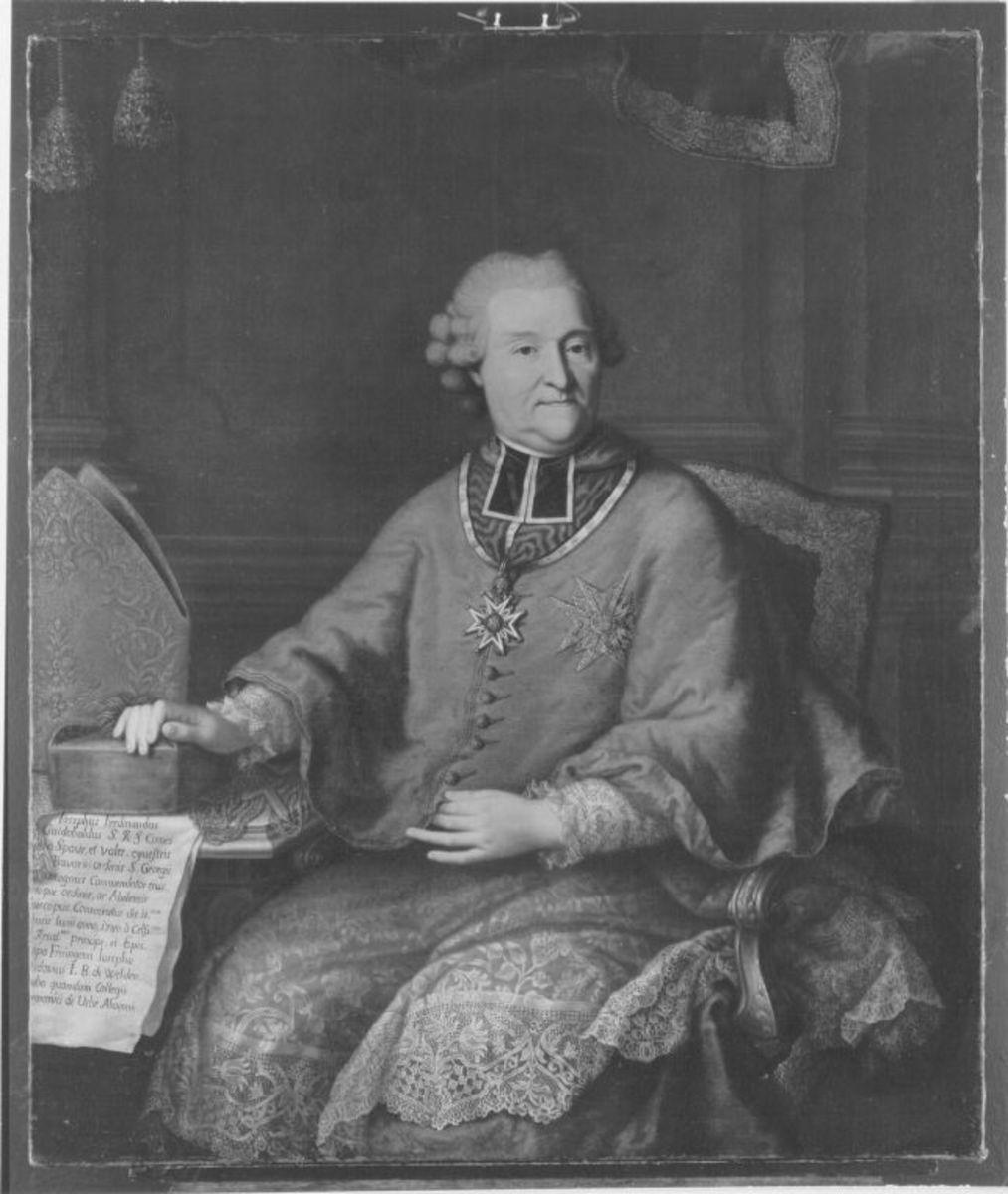 Bildnis des Reichsgrafen Joseph Ferdiand Guidobald von Spaur, Stiftsprobs von U.L. Frau und Präsident des kurfürstlichen Geistlichen Rates in München, Titularbischof von Abila in Palästina (1705-1793)