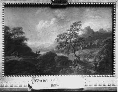 Landschaft Rückseite: Kupferstich-Bildnis eines Mannes