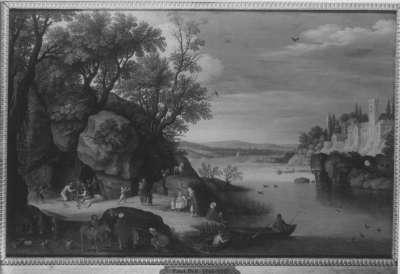 Flusslandschaft mit Staffage
