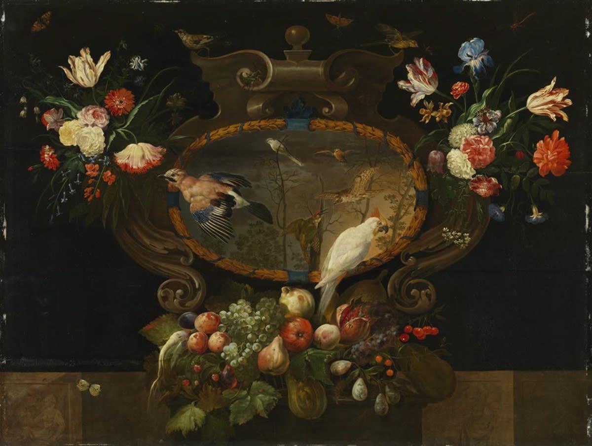 Stillleben mit Blumen, Früchten, Vögeln