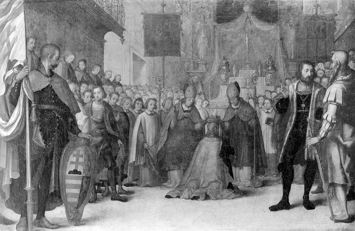 Herzog Otto III. von Niederbayern wird am 6.12.1305 zum König von Ungarn gekrönt