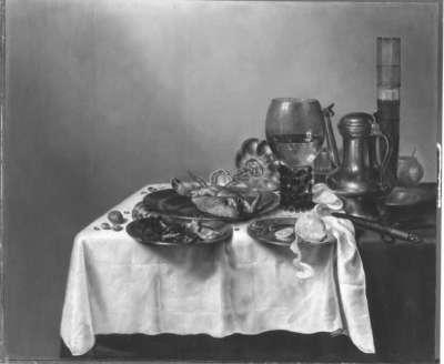 Stillleben mit Stangenglas, Zinnkanne und Weinrömer