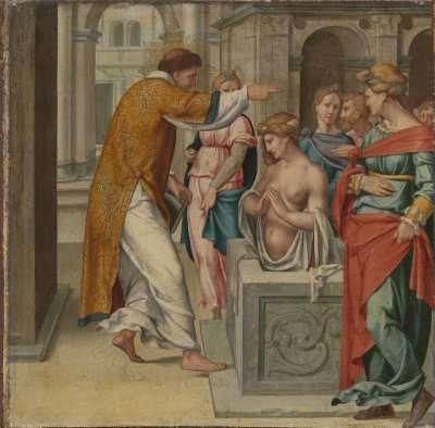 Cyriakus-Folge: Der hl. Cyriakus tauft Arthemia