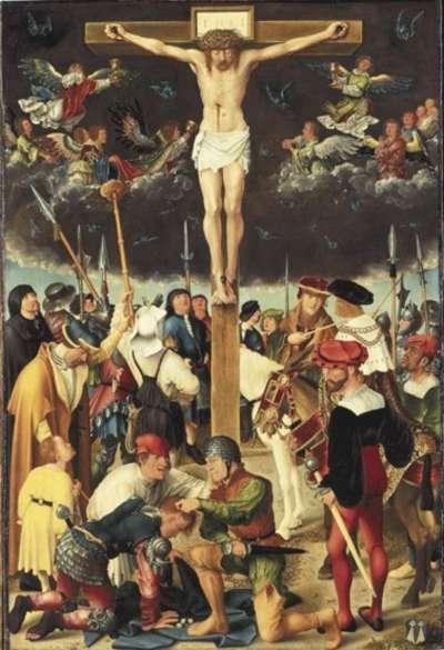 Rehlinger-Altar, Mitteltafel: Kreuzigung Christi