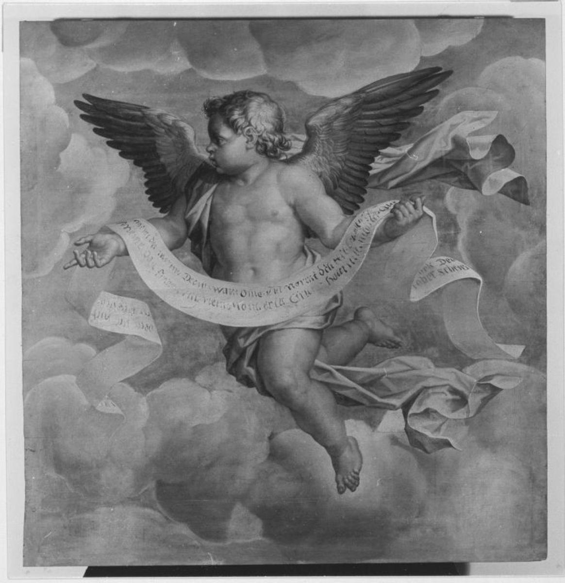 Fliegender Engel mit einem Schriftband