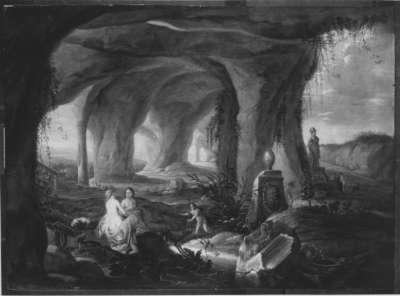 Badende Nymphen in einer Grotte