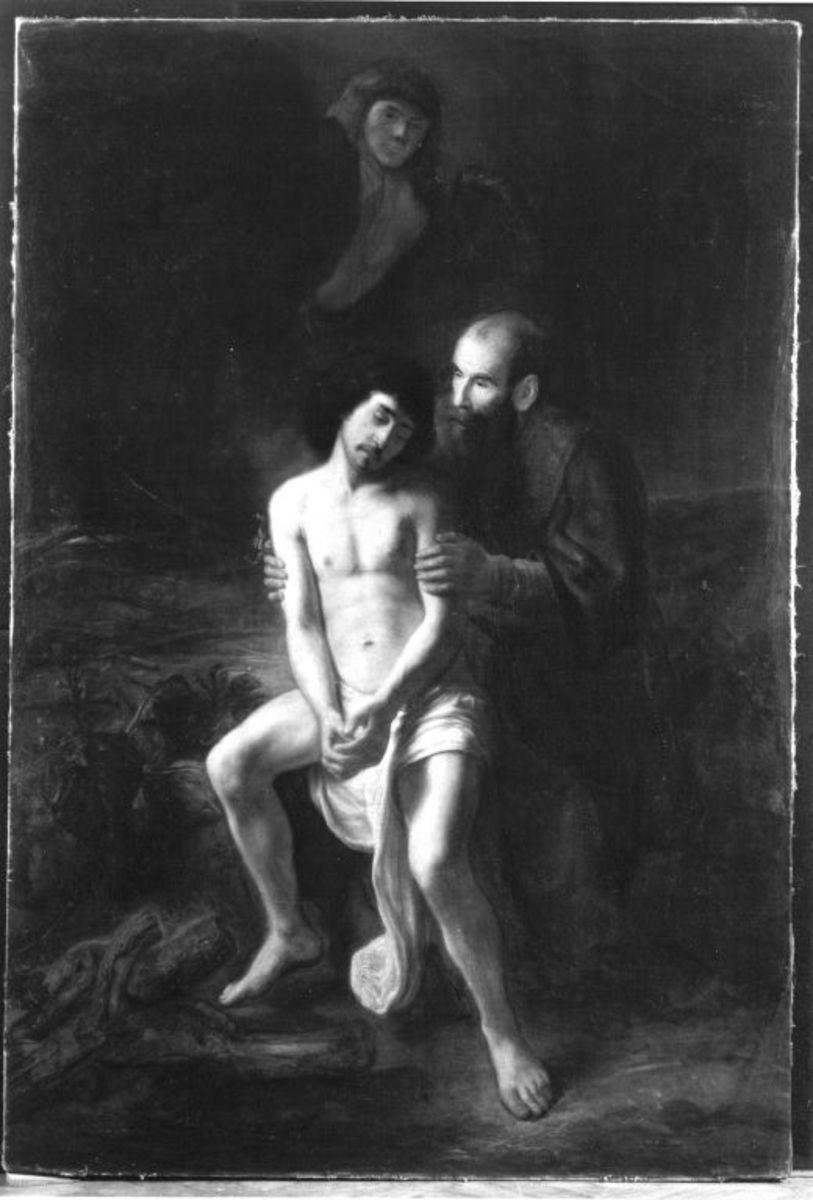 Abraham im Begriff, seinen Sohn Isaak zu opfern