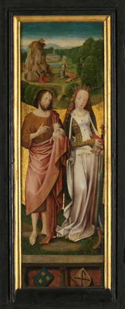 Flügelpaar: Die hll. Johannes der Täufer und Katharina (Außenseite: Engel der Verkündigung)