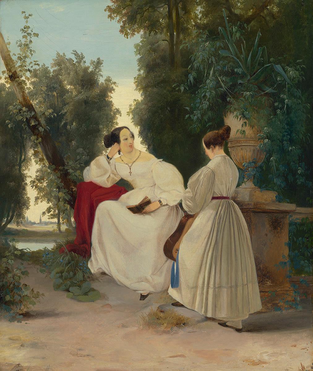 Zwei Damen im Park
