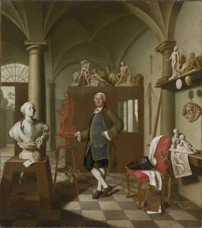 Der Bildhauer Charles de Grof in seinem Atelier