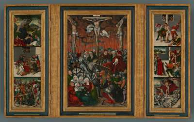 Passionstriptychon: Kreuzigung Christi, Christus am Ölberg, Dornenkrönung, Kreuztragung, Geißelung, Ecce Homo, Auferstehung (Flügelaußenseiten: Muttergottes und Schmerzensmann)