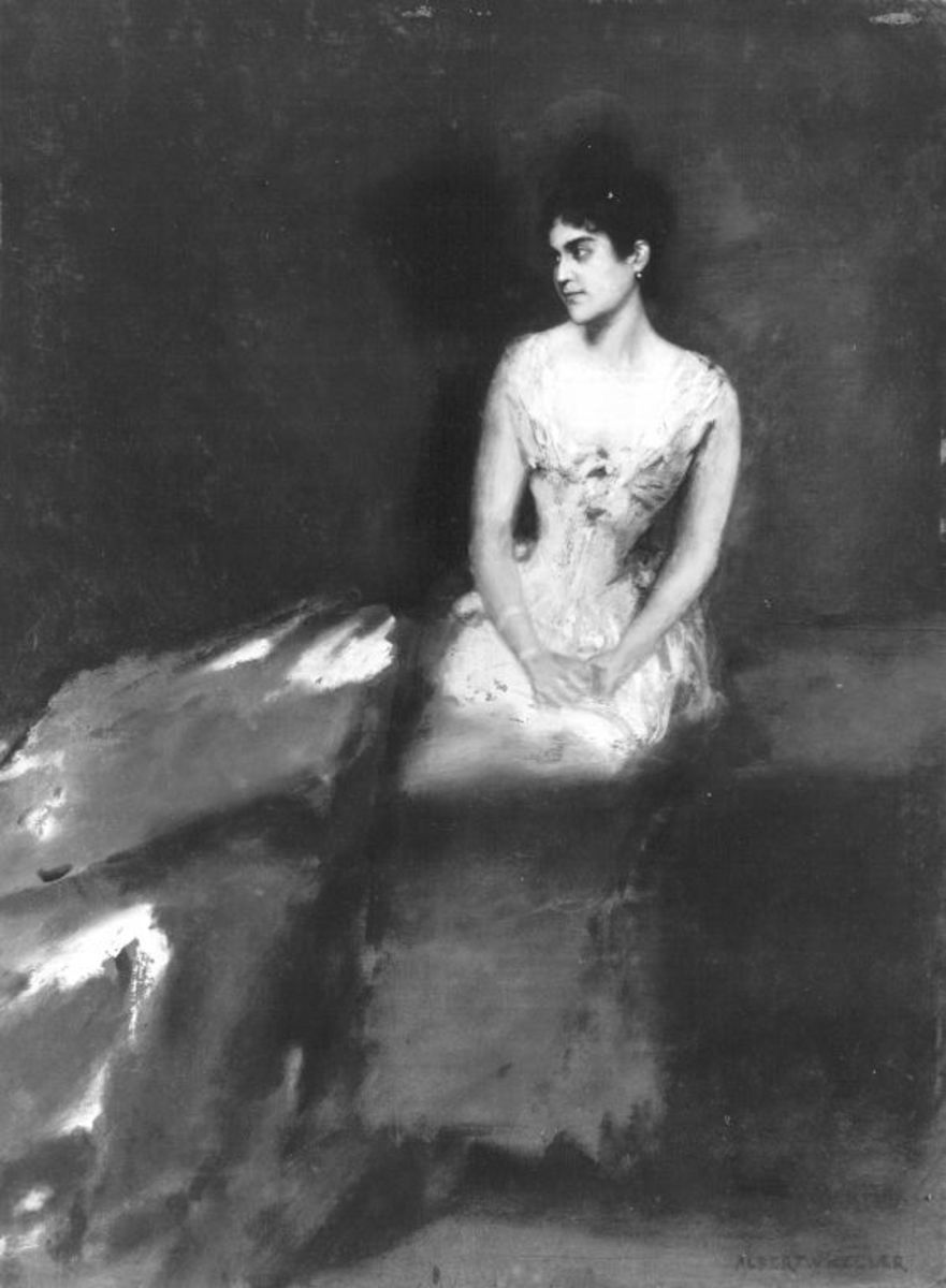 Irene von Keller, die Frau des Künstlers, vor rotem Grund