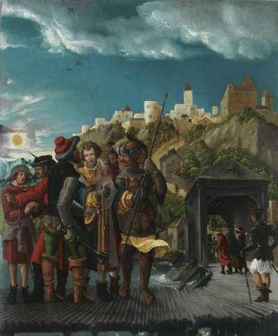 Florianslegende: Die Gefangennahme des hl. Florian auf der Ennsbrücke