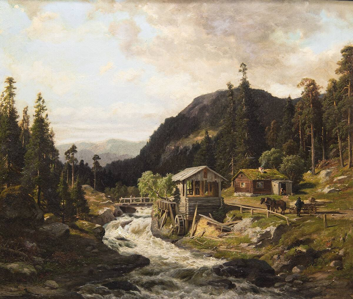 Gebirgslandschaft mit Fluss und Sägewerk