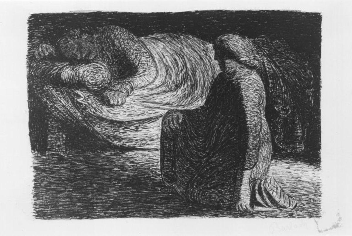 Der Tote Tag (Knieende Mutter am Bette des schlafenden Sohnes)