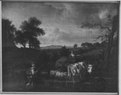 Viehherde an einer Furt