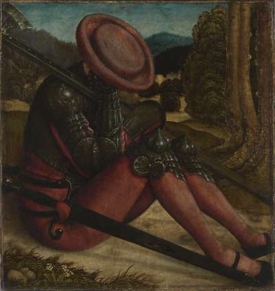 Schlafender Grabwächter mit Schwert und Hellebarde