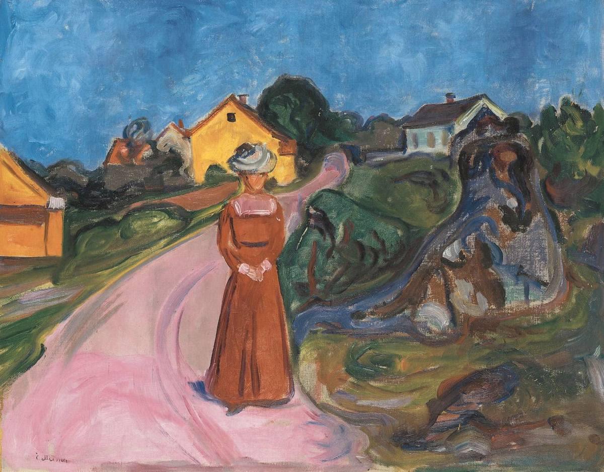 Frau im roten Kleid (Straße in Aasgaardstrand)