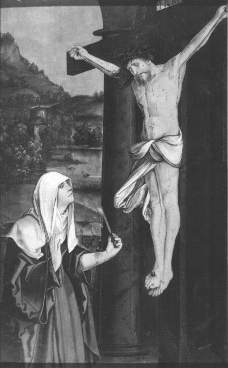 """""""Maihinger Altar"""": Hl. Birgitta von Schweden vor dem Kruzifixus Rückseite: Stammbaum der Ordensstifter nach der Regel des hl. Augustinus"""