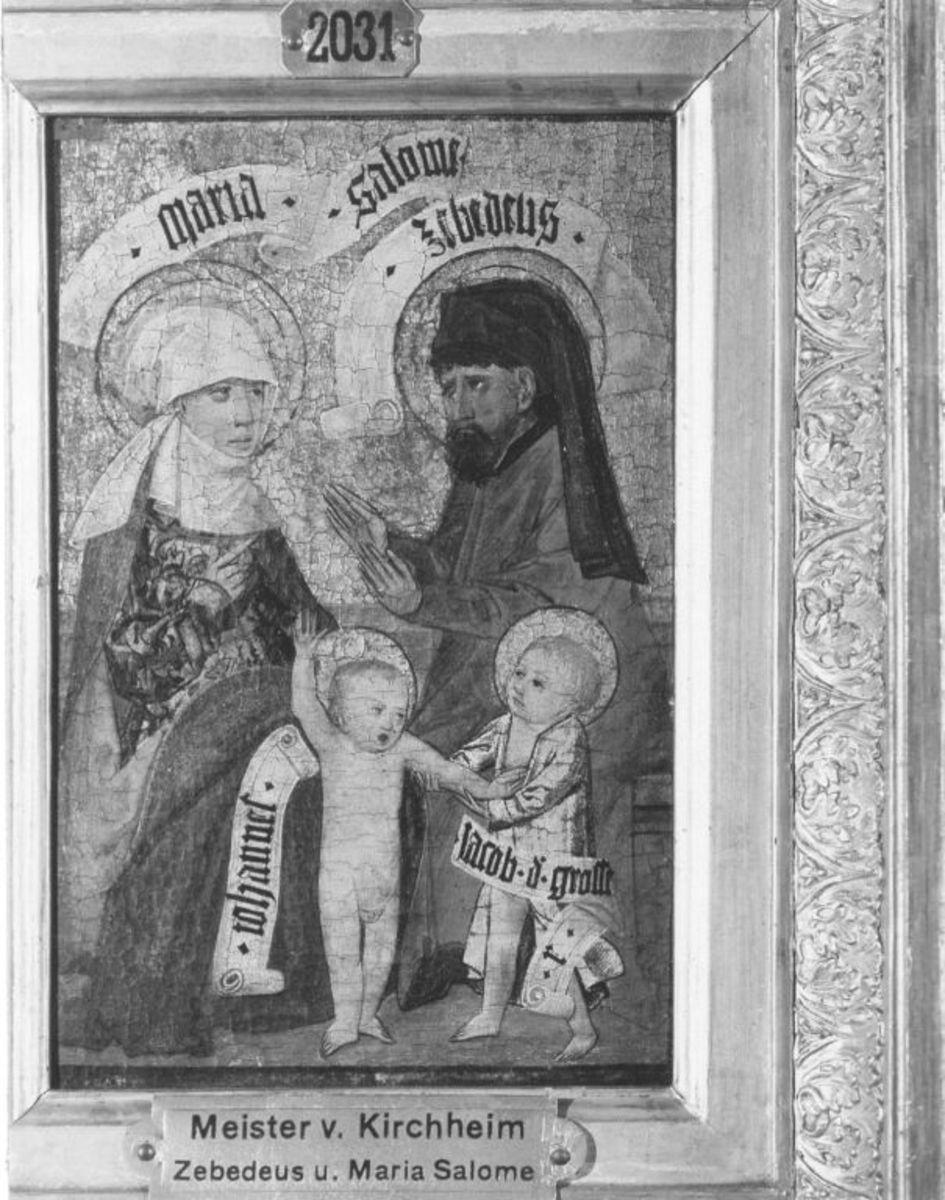 Zweiter Kirchheimer Sippenaltar: Zebedeus und Maria Salome mit Johannes und Jacobus d. Ä.