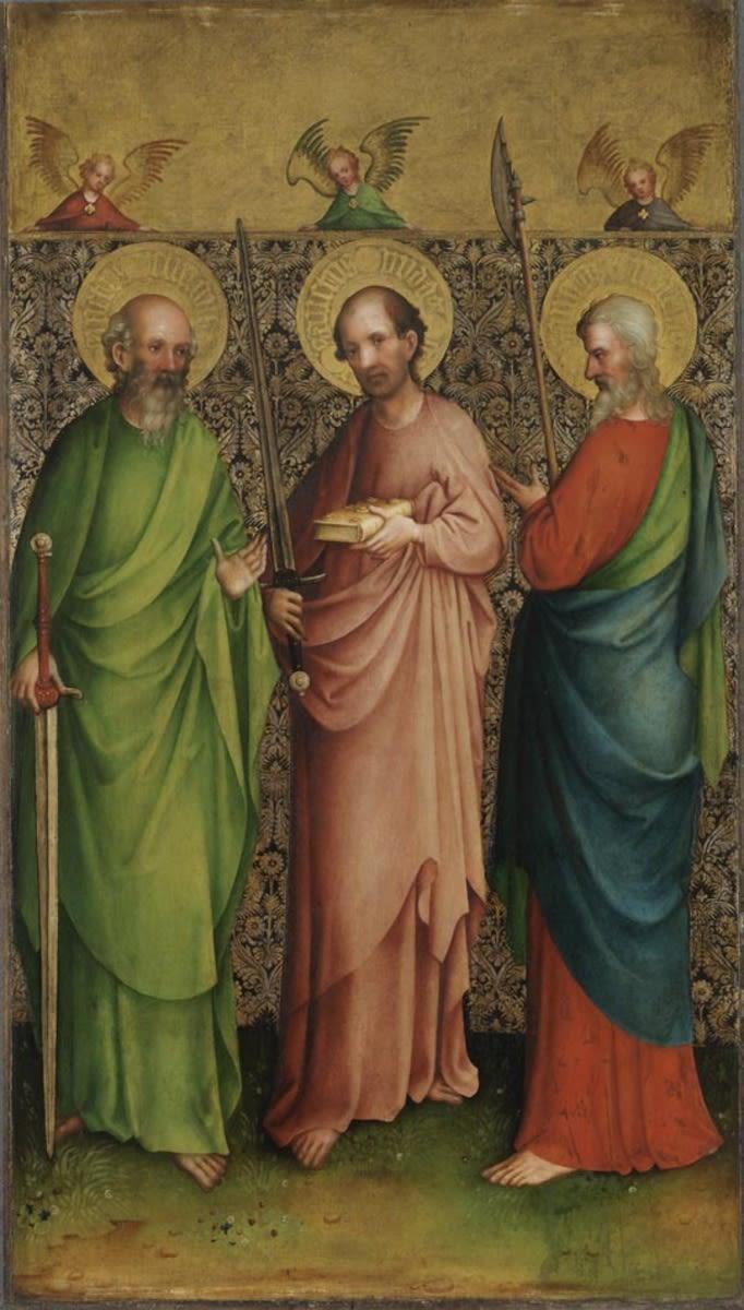 Kreuzigungsaltar: Apostel Simon, Judas Thaddäus und Matthias Rückseite: Hl. Gereon